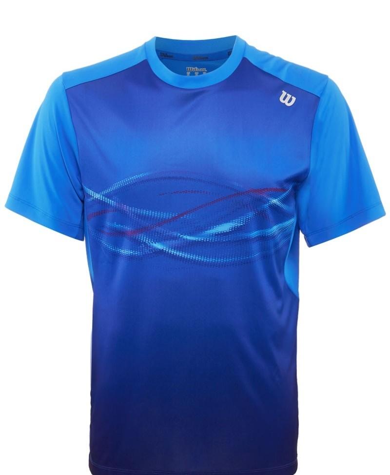 Pánské tenisové tričko Wilson LSU Soudwave Print Crew Neptune blueL