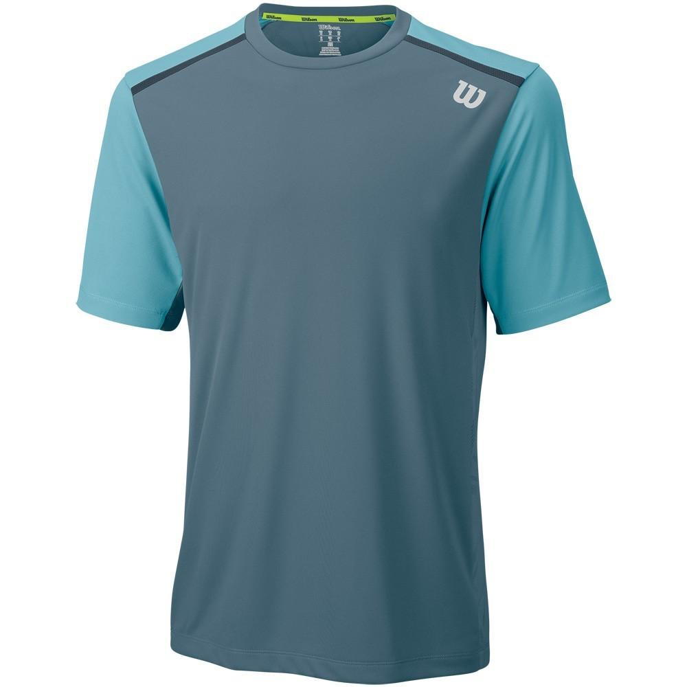 Pánské tenisové tričko Wilson Summer Jacquard Crew Blue Mirage w/Stillwater & CoalL