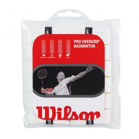 Wilson Pro Overgrip Badminton white / 12 ks