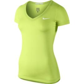 Dámské tenisové tričko Nike Pro SS V-Neck zelené