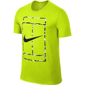 Pánské tenisové tričko Nike Court Logo Crew volt/black