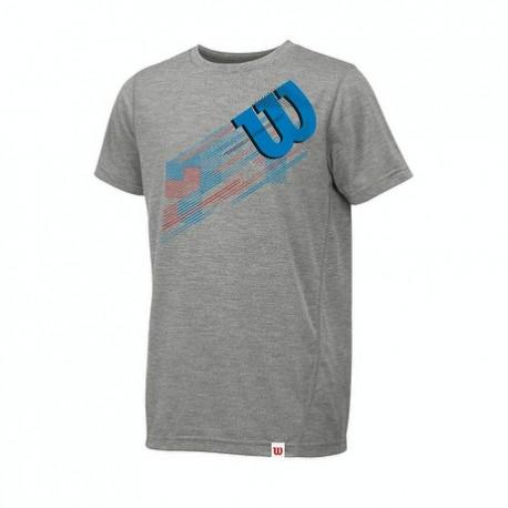 Pánské tenisové tričko Wilson summer blur plaid tech tee light grey