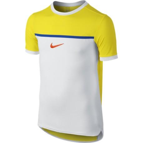 Chlapecké tenisové tričko Nike Premium Rafa Crew Opti yellow/white