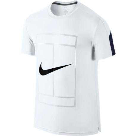 005c1b396cd5 Pánské tenisové tričko Nike Court Graphic white - Tenissport Březno