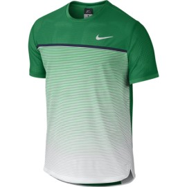 Pánské tenisové tričko Nike Challenger Premier Crew LUCID GREEN/WHITE