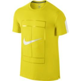 Pánské tenisové tričko Nike Court Graphic Crew OPTI YELLOW/WHITE