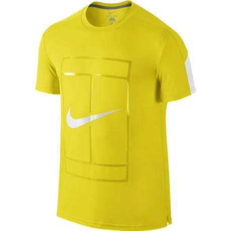 cbbd07dc36 Pánské tenisové tričko Nike Court Graphic Crew OPTI YELLOW WHITE WHITE