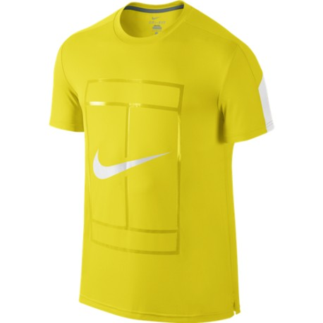 Pánské tenisové tričko Nike Court Graphic Crew OPTI YELLOW/WHITE/WHITE
