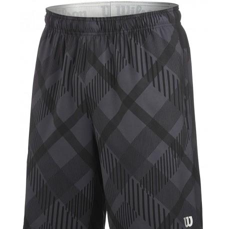 """Pánské tenisové šortky Wilson Stretch Woven 9"""" Plaid Coal /Black, Silver"""