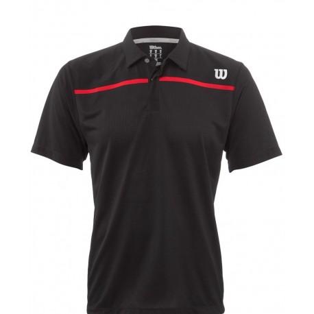 Pánské tenisové tričko Wilson Star Knit-Stretch Woven Polo black/red