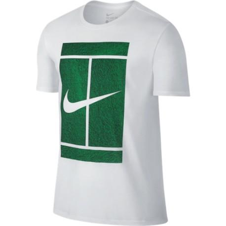 ffdf3ed5869a Pánské tenisové tričko Nike Court Logo white green - Tenissport Březno