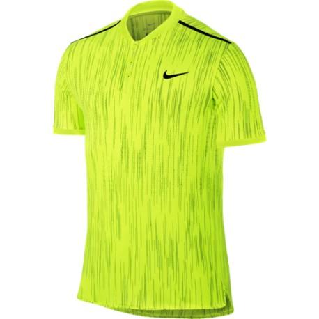 Pánské tenisové tričko Nike Dry Advantage SS Premier Polo VOLT/BLACK