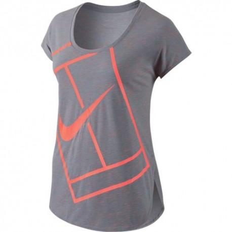 Dámské tenisové tričko Nike Practice Top WB STEALTH/BRIGHT MANGO