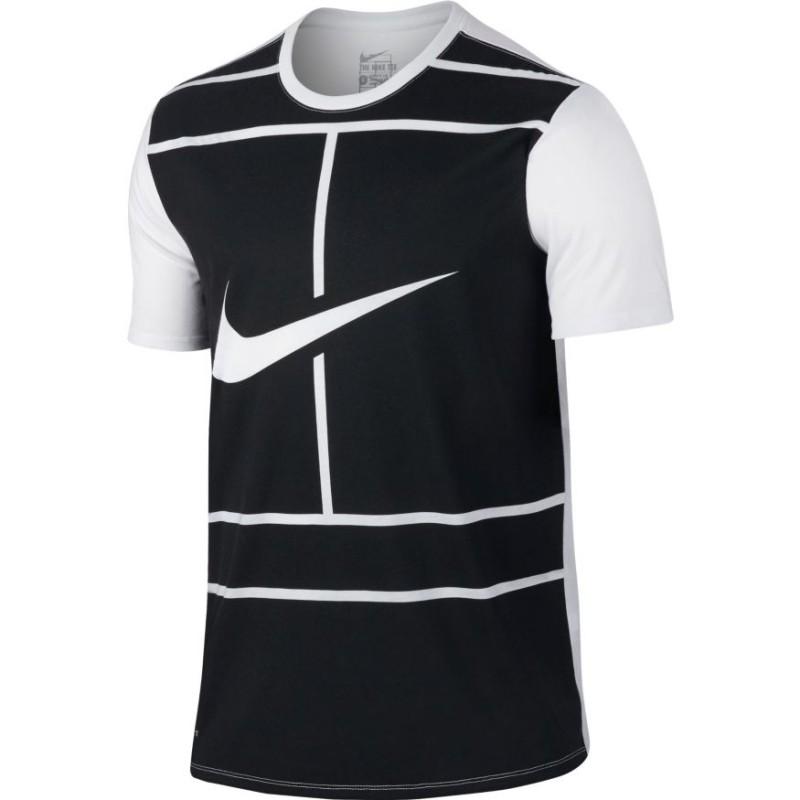 1472b58167 Pánské tenisové tričko Nike Dry Tee black white - Tenissport Březno