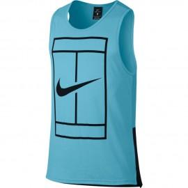 Pánské tenisové tričko NikeCourt Dry Tennis VIVID SKY/BLACK