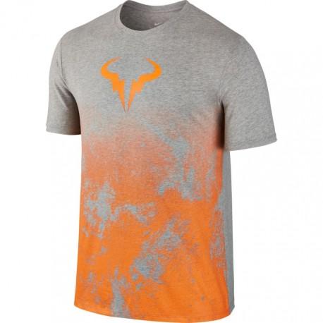 Pánské tenisové tričko Nike Rafa DK GREY HEATHER/TART