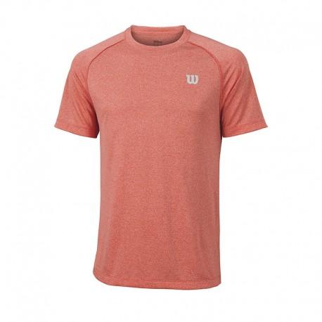 Pánské tenisové tričko Wilson Core Crew Hot Coral/Grey