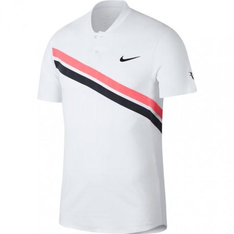 Pánské tenisové tričko Nike RF ZC Adv Polo WHITE/LAVA GLOW