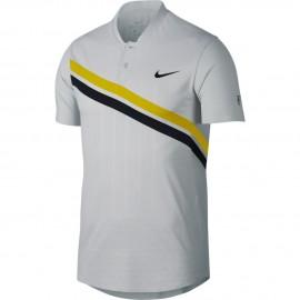 Pánské tenisové tričko Nike RF ZC Adv Polo VAST GREY/BRIGHT CITRON