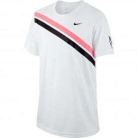 Chlapecké tenisové tričko Nike Dry RF WHITE/LAVA GLOW