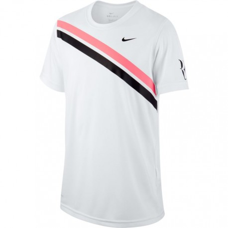 Clapecké tenisové tričko Nike Dry RF WHITE/LAVA GLOW