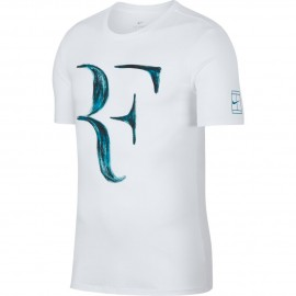 Pánské tenisové tričko Nike RF WHITE/NEO TURQ