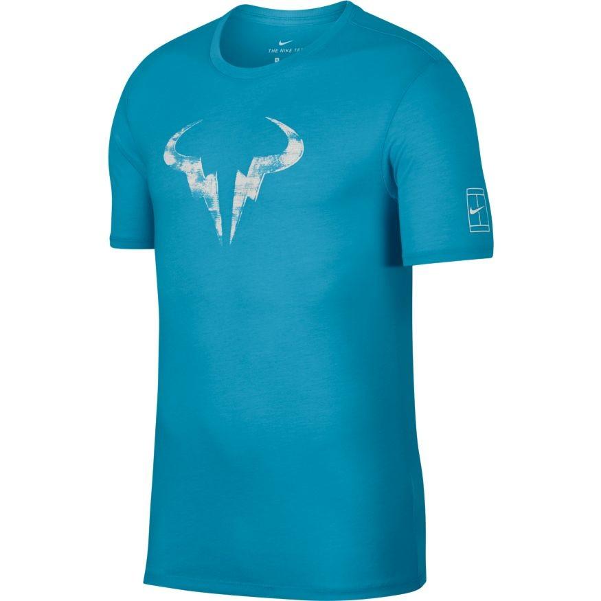1b1295e37108 Pánské tenisové tričko Nike Dry Rafa LAGOON PULSE WHITE - Tenissport Březno