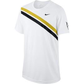 Chlapecké tenisové tričko Nike Dry RF  WHITE/BRIGHT CITRON