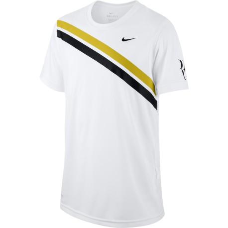 Clapecké tenisové tričko Nike Dry RF WHITE/BRIGHT CITRON