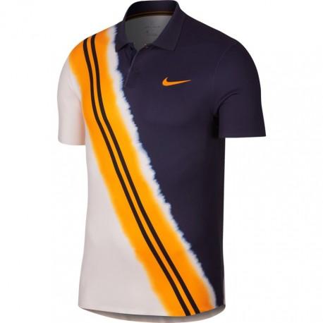 Pánské tenisové tričko Nike Dry Advantage Polo LACKENED BLUE/ORANGE PEE