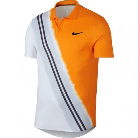 Pánské tenisové tričko Nike Dry Advantage Polo ORANGE PEEL/BLACKENED BLUE